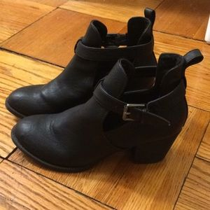 Ankle booties with cutout and buckle